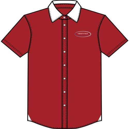Chemise boutonnée rouge confectionnée par Vestitex dans un atelier français